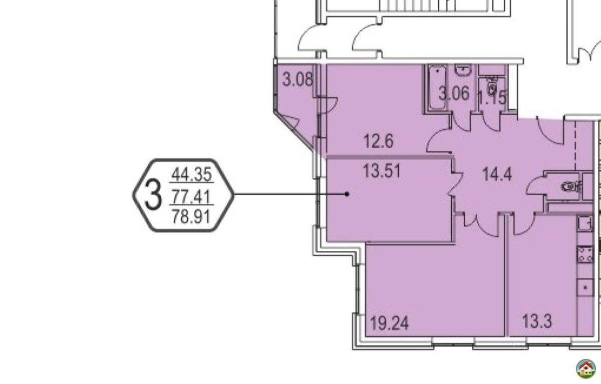 3-х комнатная квартира без отделки