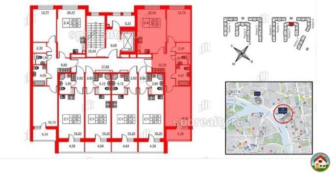3-к квартира, 69.3 м², 4/9 эт.